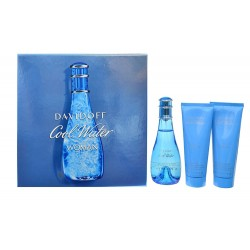 Kit Perfume Davidoff Cool Water Woman EDT 100mL + Shower + Body Lotion 75mL Feminino