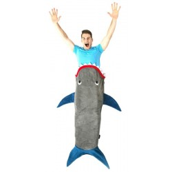 Cobertor Original Blankie Tails Adult Gray Shark With Blue Fins Idade 12+