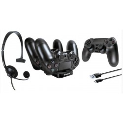 Kit Gamer DreamGear para PS4 Headset, Cargador Dual Dock y Capa
