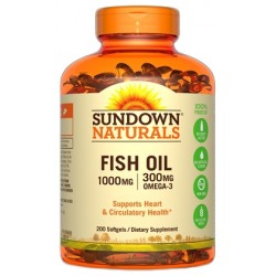 Sundown Naturals Fish Oil 1000MG/300MG Omega-3  (200 Capsulas)