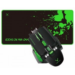 Mouse Wesdar X6 Gaming USB 2400DPI + Mouse Pad - Negro/Verde