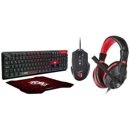 Teclado ELG + Mouse + Auricular + Mouse Pad CGST41 Starter Gaming Negro/Rojo