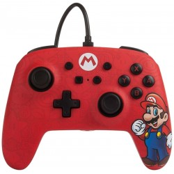 Control Nintendo Switch PowerA Wired Super Mario 1513569-01 - Rojo/Negro (Con cable)
